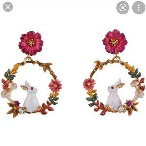Les Nereides Bunny Flower Enamel Hoop Earrings